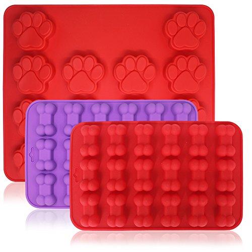 FineGood 3 moldes de silicona para hueso de perro y pata de perro, 18 cavidades y 14 cavidades de bandeja para caramelos, galletas para cachorros mascotas y niños, molde para magdalenas