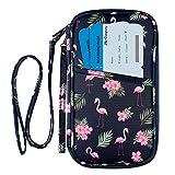 Billetera para Pasaporte con Bloqueo RFID, Bolsa organizadora de Documentos con Correa para la muñeca y el Cuello (Flamingo)