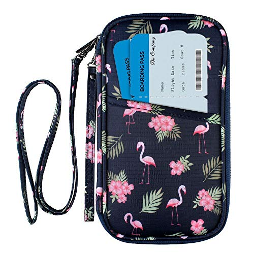 RFID Blocking Passport Wallet, Family Travel Passport Holder Document Organizer Bag with Wrist & Neck Double Strap (Large RFID-Flamingo)