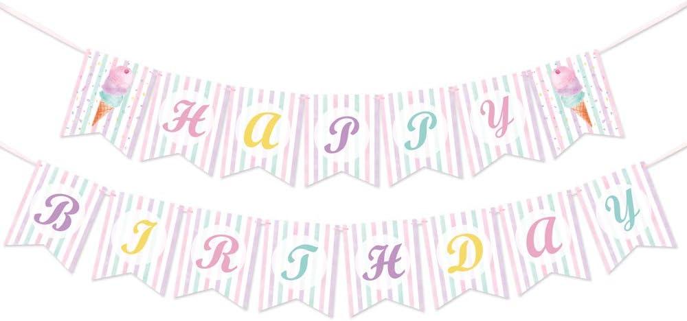 WERNNSAI Ice Cream Birthday Banner - Ice Cream Theme Party Decor