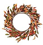 NeoL'artes 18inch Simple Orange Leaves Fall Wreath for Front Door for Thanksgiving Festival Party Door Window Wall Home Decor