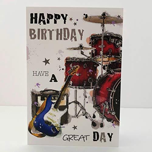 Jonny Javelin Geburtstagskarte mit Gitarre und Schlagzeug
