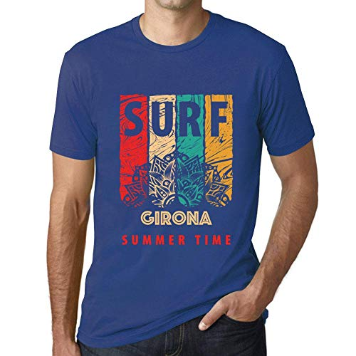 One in the City Hombre Camiseta Vintage T-Shirt Gráfico Surf Summer Time GIRONA Azul Real