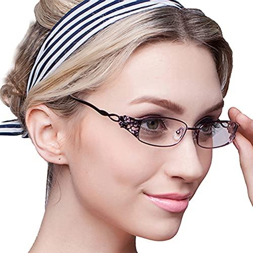 KLESIA レディース 老眼鏡 シニアグラス ブルーライトカット おしゃれ 超軽量 非球面レンズ (2.0, 温暖赤)