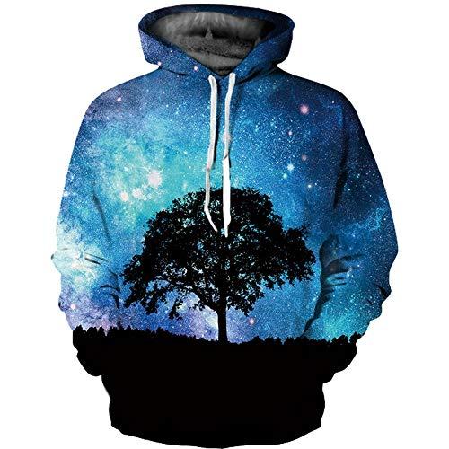 Xingmu 3D-digitaal bedrukte nonchalante pullover boom onder de sterren hooded sweatshirt capuchon lange mouwen paar jas