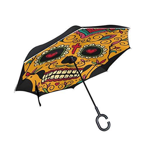 Mexikanische Sugar Skull Inverted Umbrella Double Layer Reverse Regenschirm wasserdicht Winddicht für Auto Outdoor Travel