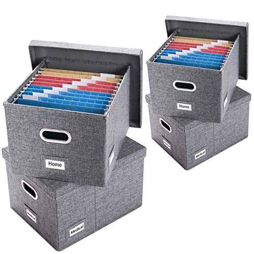Prandom File Organizer Box - Set of 4 Collapsible Decorative Linen Filing Storage Hanging File Folders with Lids Office Cabinet LetterLegal Size Grey 17x14x112 inch