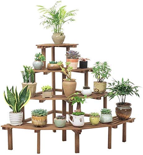 YASE-king Multi-layer Flower Rack Multi-Tier Solid Wood Plant Stand/Corner Large Flower Rack in Outdoor Garden or Indoor Living Room Bedroom Balcony and Garden Display Shelf