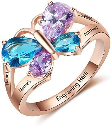 Personalized Mothers Rings with 4 Simulated Birthstones Rings for Grandmother Mother Day Rings product image