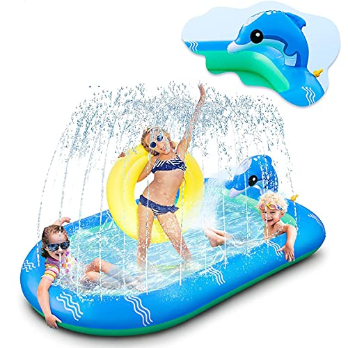 Sprinkler Pad, Hondenzwembad Waterspeelgoed Splash Speelkleed Superheld Antislip PVC, Voor Buiten Kinderen En Honden Peuters Volwassenen (67X43 Inch))
