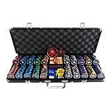 Huachaoxiang Pallottole di Carte da Gioco, Poker Cork Corrado Deluxe Poker Set con 500 Patatine di Poker di Argilla Senza Valori Istruzioni di POLORATORE Pulsante del Rivenditore E Proiettili,Nero