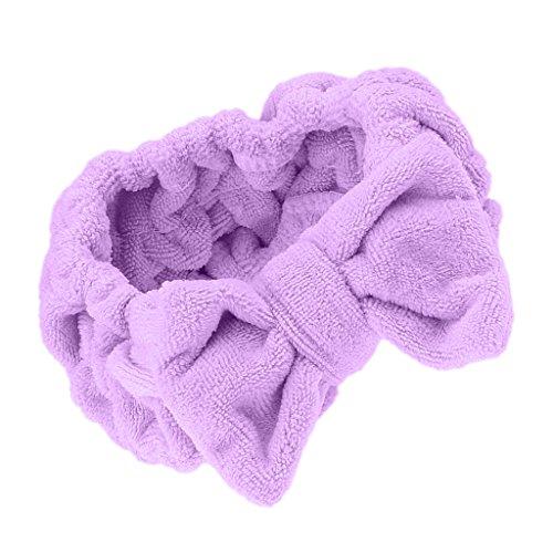 MagiDeal Mignon Nœud à Deux Boucles Bandeau Bande Elastique Serre Tete Cheveux Maquillage Douche Baignoire Spa - Violet
