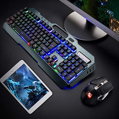 Wireless Keyboard and Mouse,Rainbow LED Backlit Rechargeable Keyboard Mouse with 3800mAh Battery Metal Panel,Mechanical Feel Keyboard and 7 Color Gaming Mute Mouse for Windows Computer Gamers(Rainbow)