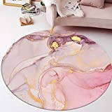 Lanqinglv Round rug, 80 cm, watercolour, pink, colourful, indoor and outdoor rug for patios, living room, bedroom, kitchen, children's room, home decoration, modern floor mat, rug, round