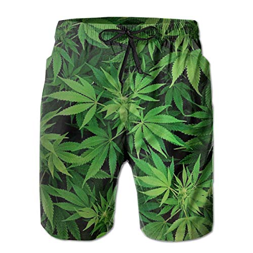 akingstore Mens Cannabis Leaf Green Weed Marihuana Badehose Kordelzug Elastische Taille Surfing Beach Board Shorts