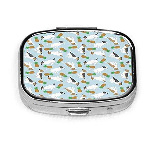 Caja cuadrada para pastillas, organizador, píldora de viaje, caja decorativa para vitaminas, estuche para Jack Russell Terriers, abrigo liso, piñas