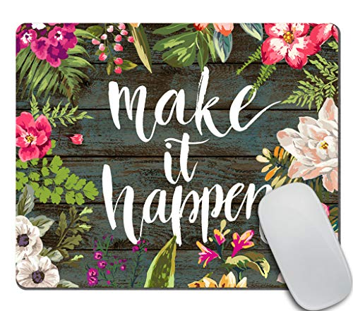 Amcove Floral Mouse Pad Motiavation Quote Make it Happen Neoprene Inspirational Quote Mousepad Office Space Decor Home Office Computer Accessories Mousepads Watercolor Vintage Flower Design