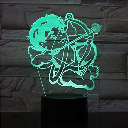 3D-nachtlampje met 3D-kubus, de God van de liefde, knipperlicht, led-nachtlampje met 7 kleuren
