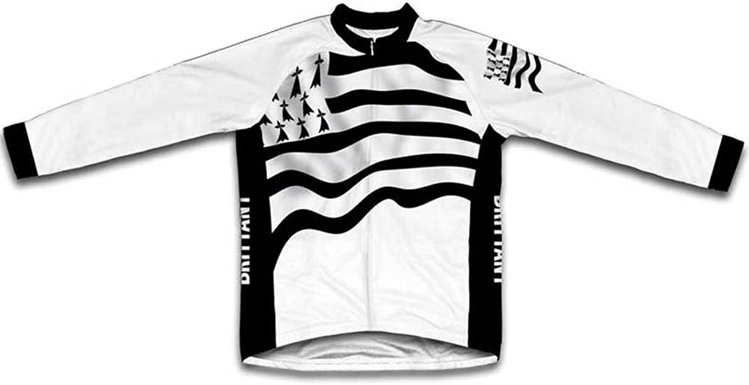 Brittany Flag Winter Thermal Cycling Jersey for Women
