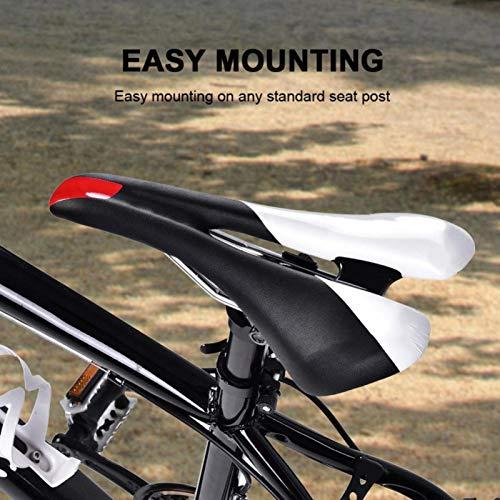 SALUTUY Sillín de Bicicleta Que Libera el Sudor, Suave para Viajes Largos, un Accesorio Ideal para los Amantes de la conducción(Black and White)