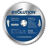 Evolution Power Tools–Acier Evoblade255Evolution 255mm Tête en carbure Lame en acier doux, 0V, Argent, 255mm