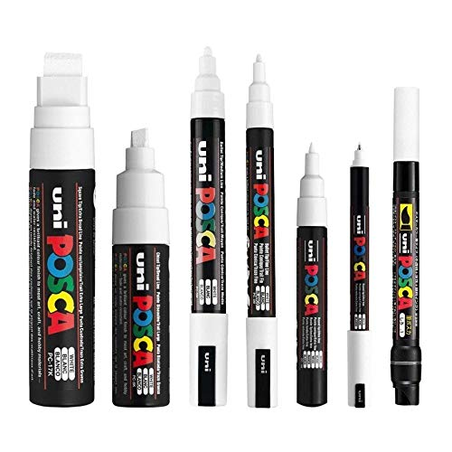 Posca, set di 7 pennarelli bianchi (PC-17K, PC-8K, PC-5M, PC-3M, PC-1M, PC-1MR, PCF-350)