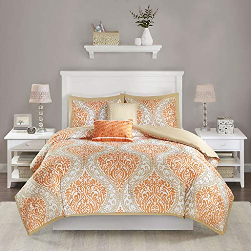 Intelligent Design Senna Comforter Set Full/Queen Size - Orange/Taupe, Damask – 5 Piece Bed Sets – All Season Ultra Soft Microfiber Teen Bedding - Great for Guest Room and Girls Bedroom