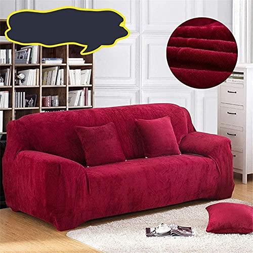 ADIS Funda de sofá gruesa de felpa todo incluido antideslizante a prueba de polvo Chaise longue Funda de sofá 1 2 3 4 plazas G_3 plazas 195 – 230 cm