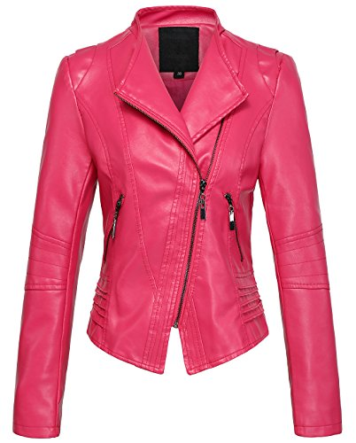 Womens Casual Collarless Cropped PU Leather Rose Pink Biker Jacket