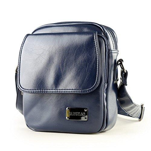 Sincere® sac à bandoulière en cuir / étudiant sac à dos homme / loisirs de plein air sac Messenger / affaire d'hommes à travers le petit bleu package-marine