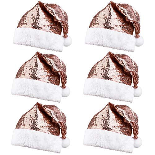 URATOT 6 Pack Christmas Santa Hat for Adults Rose Gold Sequin Santa Hat for Christmas Party Ornaments Party Supplies