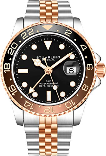 Stuhrling Original Herren Edelstahl Jubiläumsarmband GMT Uhr - Schweizer Quarz, Dual Time, Quickset Datum mit verschraubter Krone, wasserdicht bis 10 ATM (Two Tone Rose Gold)