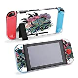 SUPNON Traditional Japanese Peacock Tattoo Protective Case Compatible with Nintendo Switch Soft Slim Grip Cover Shell for Console & Joy-Con with Screen Protector, Thumb Grips Design19697