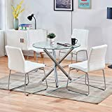 STYLIFING Dining Table and Chairs Set Round Clear Glass Top Crisscrossing Chrome Metal Legs Kitchen Table and 4 Sled Based White Faux Leather Chairs Dining Set Home Kitchen Office Waiting Room Use