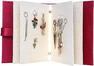 Mordoa Jewelry Organizer, Portable Earring Holder Travel Jewelry Case Pu Leather Earring Holder with Book Design (Rose Red)