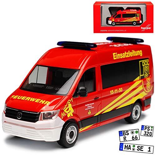 Volkwagen Crafter Transporter Hochdach Einsatzleitung Feuerwehr Rot 2. Generation Ab 2016 H0 1/87 Herpa Modell Auto