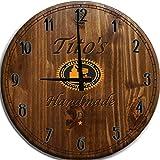 Large Wall Clock Tito's Vodka Handmade Texas Bar Sign Home Décor Classic Walnut 18 inch Wall Decor