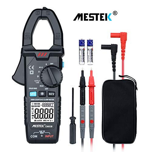 Digital Clamp Meter Multimeters MESTEK AC Current AC DC Voltage Voltmeter Autoranging Electrical Amp Ohm Hz Volt Diode Resistance 6000 Counts NCV VFC Automotive HVAC Clamping Battery Tester Probe Case