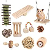 Supmaker Hamster Guinea Pig Toys - Natural Wooden Play Toy Exercise Bell Roller Teeth Care Molar Toy for Guinea Pig Chinchilla Hamster Parrot Bunny Fun Pet Balls Small Pets Play Toy