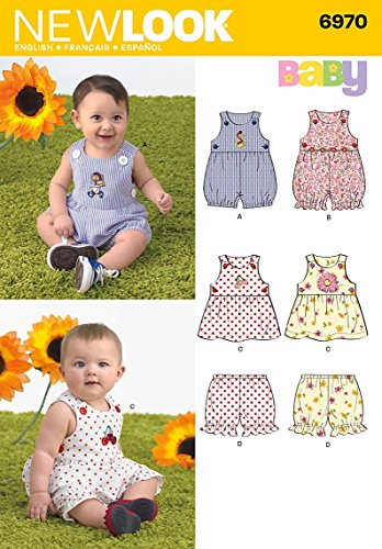 New Look Sewing Pattern 6970 Babies' Romper, Dress and Panties, Size A (NB-S-M-L)