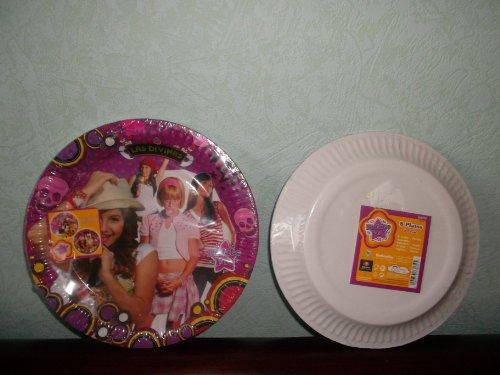 8 grandes assiettes plates rondes en carton LAS DIVINAS ,LES DIVINES 23 cm ,Fête , Anniversaire Party de Filles