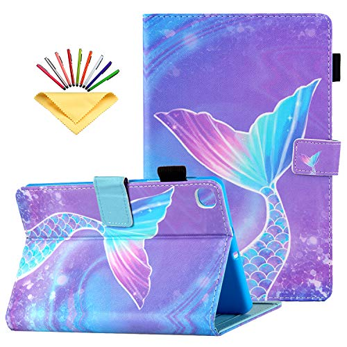 Uliking Folio Case for Samsung Galaxy Tab A 10.1 inch Tablet 2019 (SM-T510/T515/T517) with Pencil Holder & Card Pockets Multi-Angle Viewing PU Leather Magnetic Wallet Cover, Pink Mermaid Tail Scale