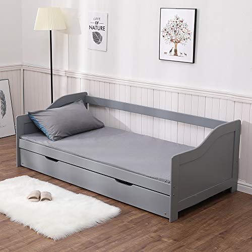 Home Source White 3ft Wooden Day Pull Out Trundle Guest Bed Pine, Single