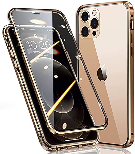 Hülle für iPhone 12 Pro Max Hülle,Magnetische Metall 360 Grad Slim Hülle,Vorne Hinten Panzerglas Kompletteschutz Handyhülle,Stoßfeste Anti-Scratch Transparen Flip Cover für Apple 12 Pro Max,Golden