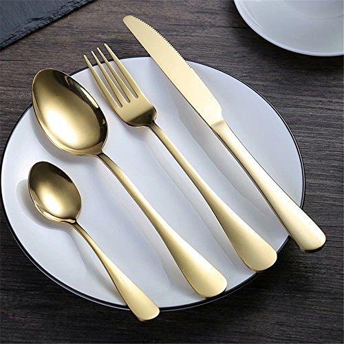 Frolahouse Juego de 4 cubiertos de acero inoxidable dorado, juego de cubiertos, vajilla de comedor, cuchillo y tenedor para 1 persona