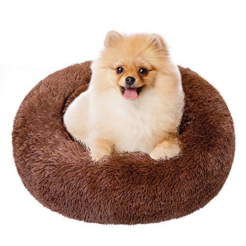 TAMOWA Cama Perro Suave Cama Gato Redonda, Camas de Gatos Perros de Donut con Parte Inferior Antideslizante, Cómodo Suave y Cálida Cama para Mascotas Gatos y Perros Pequeños, 60cm, Marró