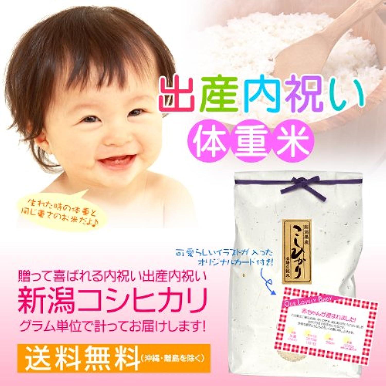 【出産ギフト】赤ちゃん体重米(赤ちゃんと同じ重さのお米)だっこしてね! のし紙?メッセージカード(イラストタイプ)付き