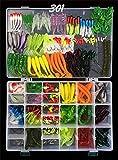 RoseFlower 301 Piezas Kits de señuelos para Pesca Cebos Artificiales de Pesca Cebo Duros/Suaves Incluye Ranas, Giratorios, Cuchara, Anzuelos - Pesca Accesorios para Pesca de Trucha, Bagre y Lucio