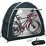 NEW Upgrade Outdoor Bike Cover Storage Shed Tent, 210d Silver Coated Oxford Cloth Portable Waterproof Tidy Foldable Bicycle Shelter, Space Saving for Camping Garden Tool Motorcycle Large Covers (Gray)
