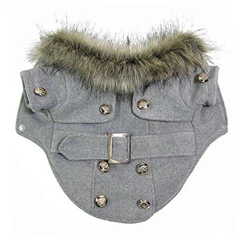 Chinatera Winter Warm Haustier Luxus Jacke Overall Hosen Hund Kleidung (Grau, M) - 6